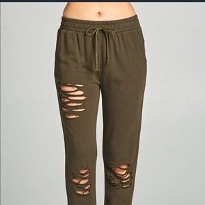 Pants - Olive Distressed French Terry Joggers